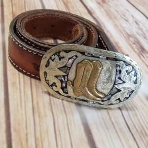 Vintage Comanchero Tooled Leather Belt 28 Boots